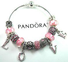 Authentic Pandora Silver bangle bracelet with European Charms Heart Love Flower #Pandoralobsterbangleclaspclaw #European
