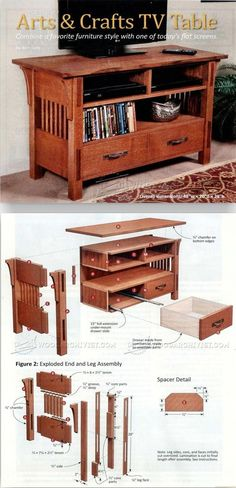 Art & Crafts TV Stand Plans - Furniture Plans and Projects - Woodwork, Woodworking, Woodworking Plans, Woodworking Projects