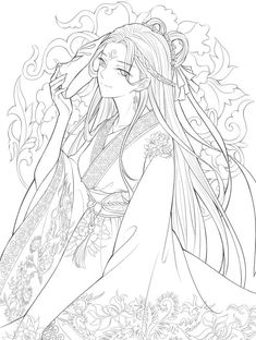 New The Best Chines Coloring Pages Line Drawing Anti Stress Coloring Book, Adult Coloring Book Pages, Cute Coloring Pages, Coloring Books, Anime Girl Drawings, Anime Art Girl, Line Drawing, Drawing Sketches, Greek Goddess Art