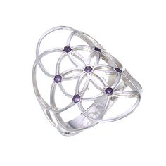 Sacred Geometry Seed of Life Ring with Amethysts in by WookNook13