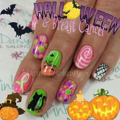Halloween Nail Art Breast Cancer Awareness Nail Designs gel Nails - Nails By Frankenstein -Marina Frankenstein - Instagram : @NailsByFrankenstein - Facebook Like Page : Nails By Frankenstein - Twitter : @frankensteinbae
