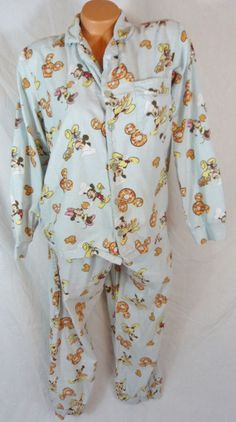 2 Pc Disney Store Mickey Mouse Button Up Pajamas Shirt Pants Medium Tall 10 12 #Disney #PajamaSets