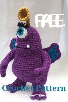 Crochet Monster FREE Crochet Pattern - Make this fun design based on the fitional idea of a purple people eater Halloween Crochet Patterns, Modern Crochet Patterns, Crochet Patterns For Beginners, Love Crochet, Crochet Gifts, Crochet Toys, Crochet Animals, Crochet Dragon Pattern, Amigurumi Patterns