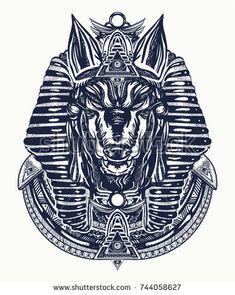 Anubis tattoo and t-shirt design. Anubis, god of war, Golden Mask of the Pharaoh, symbol of next world, kingdom of dead tattoo art Tattoo T Shirts, Sleeve Tattoos, Sketch Tattoo Design, Tattoo Designs, Anubis Drawing, Egypt Tattoo, War Tattoo, God Tattoos, Traditional Tattoo Art