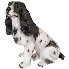 Mid-Century Italian Black and White Cocker Ceramic Spaniel Dog... (1.510 BRL) ❤ liked on Polyvore featuring home, home decor, models & figurines, cocker spaniel figurine, ceramic sculpture, black white home decor, black and white home accessories and black and white home decor