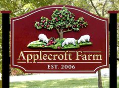 Love these colours for a farm sign and the raised/etched design of the wood work!
