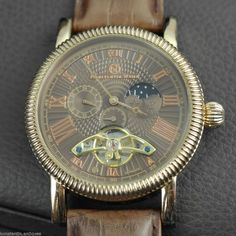 Open heart automatic wrist watch gilt Constantin Weisz day night original gift #automatic #gold_plated #Constantin_Weisz #watch #leather #brown #gift #wedding #anniversary #summer #birthday #roman_numerals