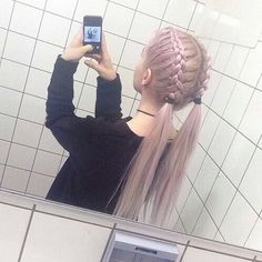 Bleach London Pastel Hair Color Dye as seen on Gemma Styles, Lou Teasdale, Lily Allen. Pretty Hairstyles, Braided Hairstyles, Grunge Hairstyles, Hairstyles Tumblr, Cute Hairstyles For School, Kawaii Hairstyles, Simple Hairstyles, Cornrows, Pigtail Braids