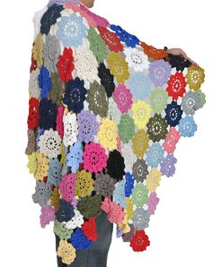 Crochet 104 pcs of multicolor flowers throw by jennysunny on Etsy, $48.00
