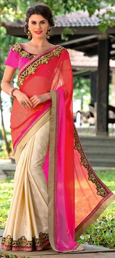709051 Beige and Brown,Red and Maroon  color family Embroidered Sarees,Party Wear Sarees in Faux Chiffon fabric with Lace,Machine Embroidery,Stone,Thread,Zari work   with matching unstitched blouse.