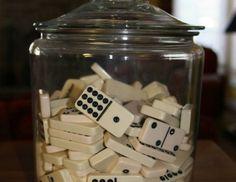 Love the idea of dominos, Jenga blocks, dice, marbles, jacks, etc. in jars for decor in game room!