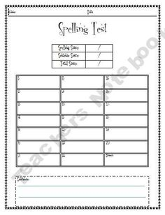 Spelling & Phonogram Test Forms