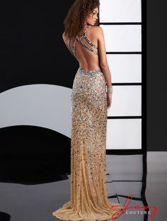 Long and sexy prom dress 2015 with nude, gold and turquoise crystal beading, open back, side and back cutouts and a slit by Jasz Couture