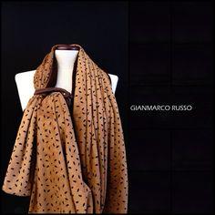 Gianmarco Russo - stola gioiello - limited edition - cachemire e camoscio traforato al laser - Made in italy -