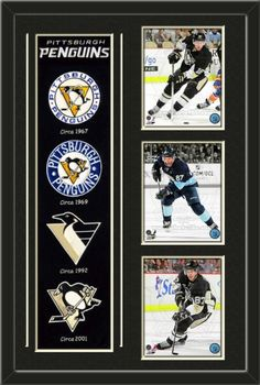 One framed Pittsburgh Penguins heritage banner with three 8 x 10 inch Pittsburgh Penguins photos of your choice, double matted in team colors to 22 x 34 inches.  The lines show the bottom mat color. $189.99  @ ArtandMore.com