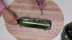How to cut an empty glass wine bottle made for succulent planter. Melted Wine Bottles, Empty Wine Bottles, Wine Bottle Corks, Glass Bottle Crafts, Glass Bottles, Wine Glass, Dremel, Wine Bottle Planter, Flatten Bottles