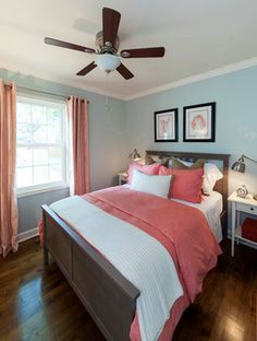 Lake House - beach style - bedroom - charlotte - Loftus Design, LLC, like the muted walls, coral bedding, could add burlap to add texture, with pics from Kirklands?