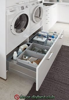 Utility room - cook consciously - europamoebel at in 2020 Modern Laundry Rooms, Laundry Room Layouts, Laundry Room Cabinets, Farmhouse Laundry Room, Modern Room, Laundry Closet, Laundry Room Organization, Laundry In Bathroom, Closet Organization