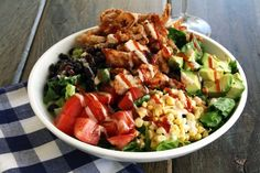 Cheesecake Factory BBQ Chicken Ranch Salad recipe. Pinner said: BEST.SALAD.EVER! I could seriously eat it everyday!