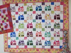 TumbleTalk: House Quilt, with quilted trees by Kim Greenfeld