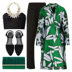 """""""Black + Green"""" by cherieaustin ❤ liked on Polyvore featuring Diane Von Furstenberg, Marni, Fleur du Mal, Lulu Frost, women's clothing, women's fashion, women, female, woman and misses"""