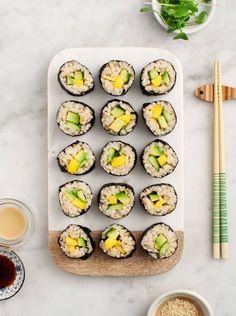 Avocado and Mango Brown Rice Sushi - An easy, healthy homemade sushi recipe. Vegan and gluten free.