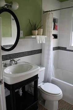 Photo Album Gallery Before u After Bathroom Makeover Projects from Around the Web love the tile work and the pedestal sink
