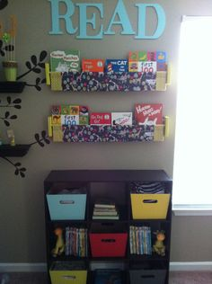 I chose this because i thought this was a cute reading station my students could use to easily pick out a book they wanted to read. Reading Stations, Play Stations, Double Curtain Rod Brackets, Book Sling, Wooden Brackets, E Room, Neutral, Book Storage, School Organization