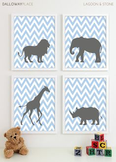 Kids Art for Children, Baby Nursery Decor, Zoo Jungle Nursery Art Print, Safari Animal Nursery Wall Art Elephant Kids Decor - Four 11x14