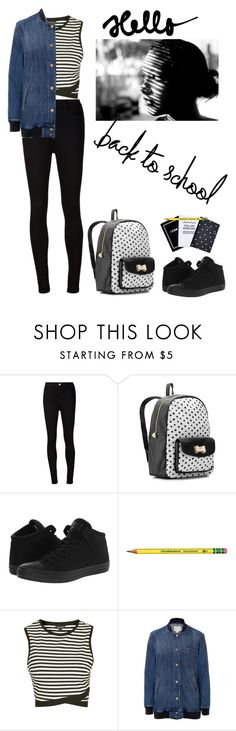 """""""Back to School - Jacket"""" by jojona-1 ❤ liked on Polyvore featuring AG Adriano Goldschmied, Betsey Johnson, Converse, Topshop and Current/Elliott"""