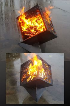 The Cube Firepit! With a fresh 'through the branches' silhouette - available in 3 sizes. they pack down easily. Dyi Fire Pit, Chiminea Fire Pit, Fire Pit Art, Iron Fire Pit, Rustic Fire Pits, Fire Pit Grill, Metal Fire Pit, Cool Fire Pits, Garden Fire Pit