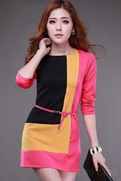 Hermosa Bloque de color con la correa La mitad de las mangas de las mujeres vestido de la envoltura Vestidos