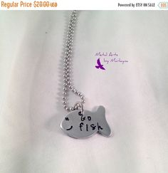 "Personalized ""Go fish"" Necklace Hand Stamped Aluminum Fish Shape Lightweight Necklace Fishie Fishing Father Grandfather"