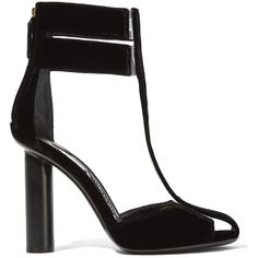 Tom Ford PVC-trimmed velvet T-bar sandals ($860) ❤ liked on Polyvore featuring shoes, sandals, heels, high heels, scarpe, black, black heeled sandals, heeled sandals, black sandals and high heel shoes