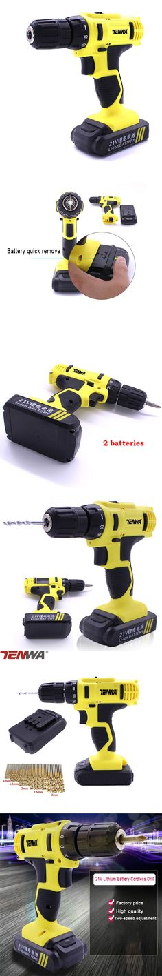 TENWA 21V 2 Speed 2* Batteries Electric Drill With 50 PCS Twist Bits Power Tool Sets Lithium Cordless Drills HHS Steel Bits Set