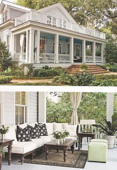 Exterior and front porch..Love it! Real southern porches have blue ceilings. Why? It is cooler and wasps stay away