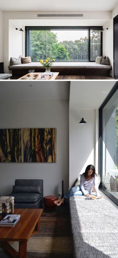 A cushioned window seat runs the length of the window and overlooks the bush outside. interior courtyard ideas large windows looking outside without the cost of floor to ceiling windows Room Interior, Interior Design Living Room, Kitchen Interior, Window Seat Kitchen, Window Benches, Window Seats, Attic Window, Modern Window Seat, Open Window