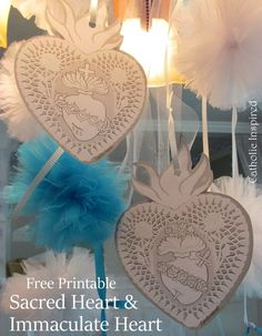 Beautiful & Lacy Sacred and Immaculate Heart Printable {Free} ~ Catholic Inspired