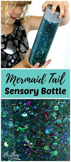 Learn how to make your own glittering mermaid tail sensory bottle! Calm down discovery jars like this glitter sensory bottle can be used for portable no mess safe sensory play, calming an overwhelmed child, and helping children learn to self-regulate. Bab