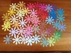 30  Flower die cuts, 2 sizes available, 3 inch Daisy die cuts, 3 inch die cuts, Daisy die cuts, multi coloured flower die cuts, destash by PinkyPromiseBargains on Etsy