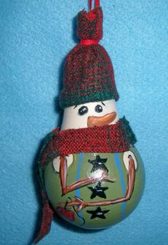 Light bulb ornament: homespun snowman $8.