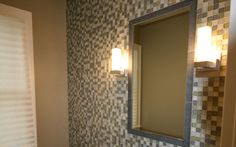 Recycled Glass Tile Installed in a bathroom by Installations Plus Inc of Holliston MA