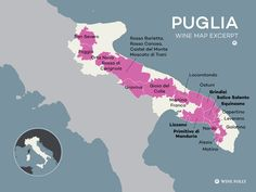 Italy's Puglia Wine Region, an abbreviated map excerpt by Wine Folly #wine #wineeducation #italy #puglia