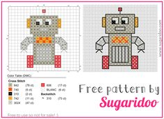 Free robot cross stitch pattern. Very cute, isn't it? Please share it and use it as many times as you like! (By Sugaridoo.com)