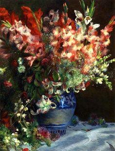 bofransson:    Gladiolas in a Vase - Pierre Auguste Renoir,circa 1874-1875