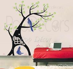 Parrot and Tree Wall Decal - PopDecors.com