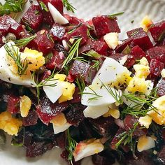 Beetroot, caper and dill salad - a quick and easy salad that takes minutes to prepare. Leave for the flavours to mingle then serve with hard-boiled eggs and fresh dill. Cold Vegetable Salads, Vegetable Salad Recipes, Dill Recipes, New Recipes, Healthy Recipes, Swedish Recipes, Swedish Foods, Horseradish Recipes, Healthy Food