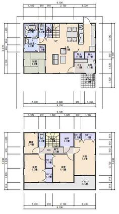 書斎のある収納の多い住宅プラン 34坪南入り4LDK Japanese House, Floor Plans, Flooring, How To Plan, Architecture, Ideas, Home Decor, Arquitetura, Hardwood Floor