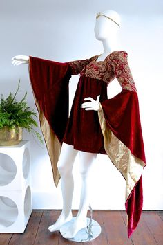 Beautiful 60s 70s MEDIEVAL RENAISSANCE Deep Red Velvet and