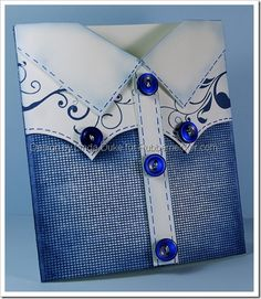 handmade card ... cute Western shirt design ... luv the flourishes on the yolk .... look of denim ... faux stitiching ...